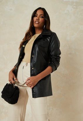 Missguided Black Faux Leather Croc Short Trench Coat