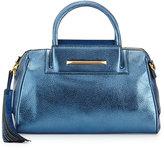 Brian Atwood Sharon Mini Metallic Zip Satchel Bag, Cadet Blue