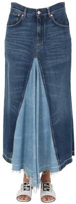 Givenchy Two-Tone Denim Maxi Skirt