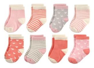Hudson Baby Patterned Crew Socks, 8-Pack (Baby Girls & Toddler Girls)