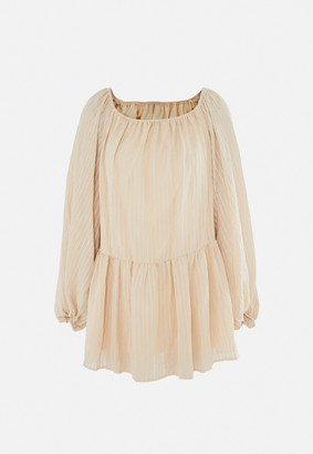 Missguided Stone Textured Flared Sleeve Bardot Swing Dress