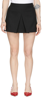 RED Valentino Black Tricotine Front Skirt Shorts