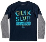 Quiksilver Boys' Layered Look Scribble Letter Tee - Sizes 4-7