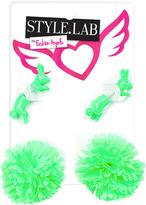 Fashion Angels Green Rabbit & Pom-Pom Earrings Set