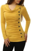 Allegra K Women Cowl Neck Long Sleeves Buttons Decor Ruched Top XL