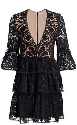 ML Monique Lhuillier Tiered Velvet Mini Dress