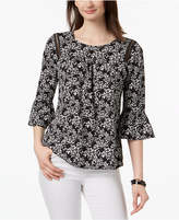 NY Collection Petite Printed Peasant Top