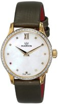 Marvin Women's M020.61.74.98 Malton Gold-Tone Watch with Diamond-Accented Bezel and Green Band