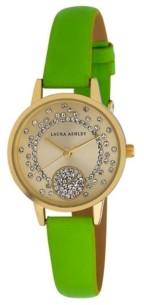 Laura Ashley Women's Spray Crystal Dial Olive Polyurethane Strap Watch 32mm