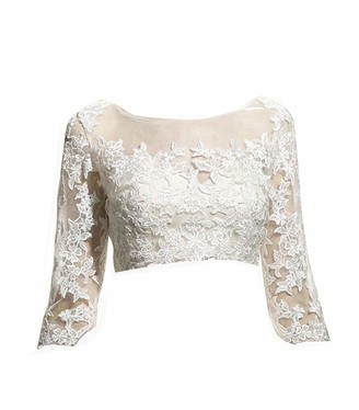 Vipgowns Women's Lace 3/4 Sleeve Shrug Jacket Long Sleeve Bridal Lace Bolero Wedding Jacket