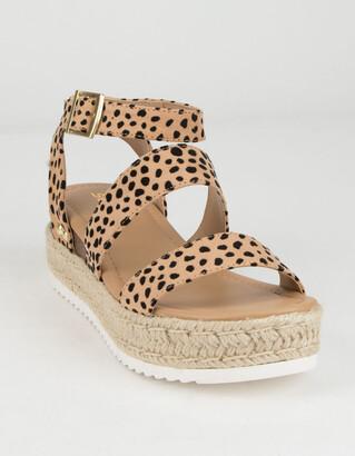 Soda Sunglasses Ankle Banded Womens Leopard Espadrille Flatform Sandals