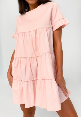 Missguided Pink Short Sleeve Tiered Smock Dress