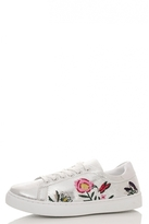 Quiz Silver Shimmer Embroidered Trainers