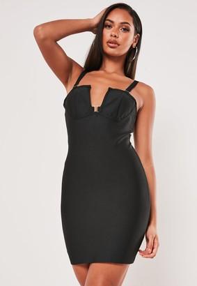 Missguided Premium Black Bandage Cami V Bar Clasp Mini Dress