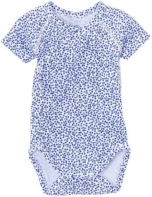 Petit Bateau Unisex Baby Short-Sleeved Tube Knit Bodysuit With Cherry Print