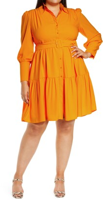 Halogen x Atlantic-Pacific Belted Long Sleeve Shirtdress