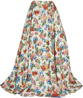 Emilia Wickstead Poppy floral-print basketweave maxi skirt
