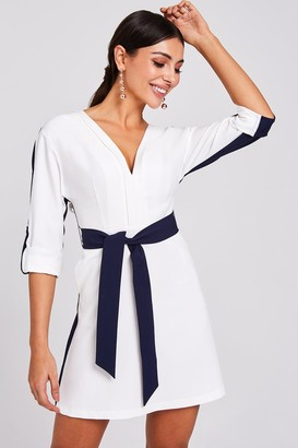 Paper Dolls Warner Navy And White Colour-Block Shift Dress