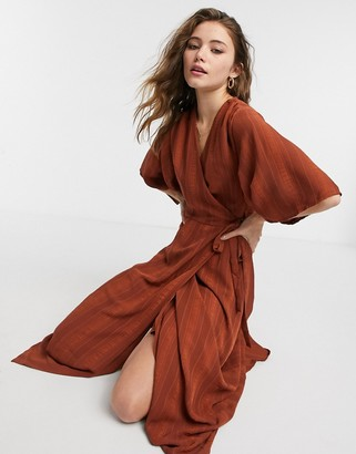Liquorish kimono sleeve wrap midi dress in chocolate brown
