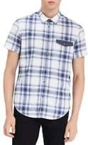 Calvin Klein Jeans Plaid-Print Short-Sleeve Cotton Button-Down Shirt