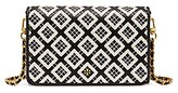 Tory Burch Robinson Woven-Leather Chain Wallet