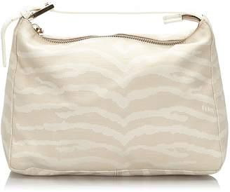 Fendi Pre-Loved White Canvas Fabric Tiger Print Handbag Italy