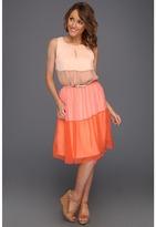 Vince Camuto Sleeveless Colorblock Dress (Spicy Orange) - Apparel