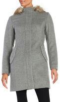 Cole Haan Faux Fur Trimmed Wool Walker Coat