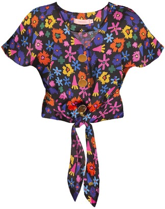 Tomcsanyi Palma Tie Front Button Top Doodle Flower