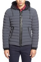 Mackage Lux Water Repellent Hooded Down Jacket with Leather Trim