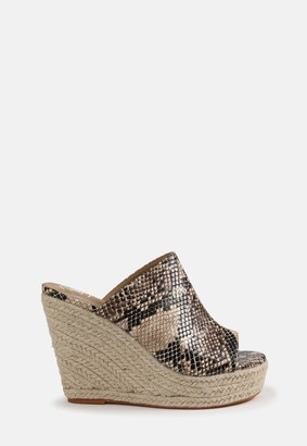 Missguided Nude Snake Effect Wedges