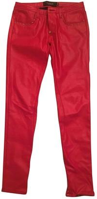 Philipp Plein Red Cotton Trousers