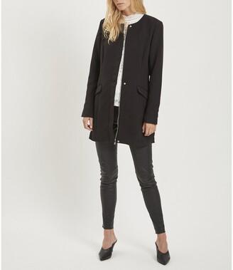 Vila Straight Collarless Coat with Pockets