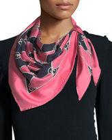 Gucci GG Rhombus Chain Silk Foulard Scarf