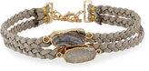 Panacea Double-Row Braided Suede Choker Necklace w/ Druzy Stones, Gray