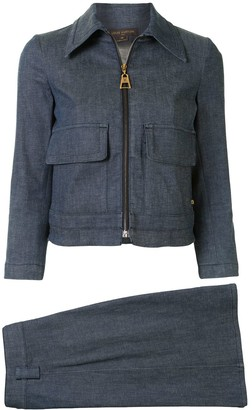 Louis Vuitton Pre-Owned Denim Jacket And Skirt Set