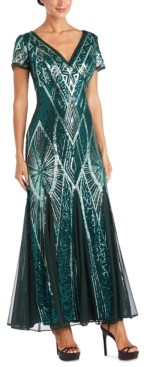 R & M Richards Sequin Scoop-Back Gown