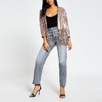 River Island Pink sequin tassel cropped kimono jacket