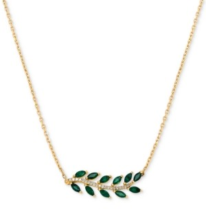 """Macy's Emerald (3/4 ct. t.w.) & Diamond Accent 18"""" Statement Necklace in 14k Gold"""