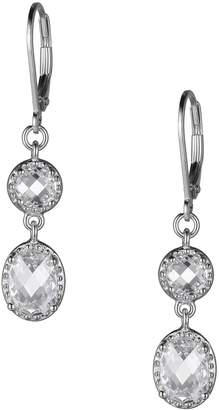 Reign PAJ-Bridal Rhodium-Plated Sterling Silver Cubic Zirconia Oval Drop Earrings