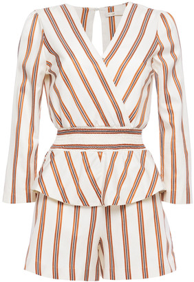 Maje Wrap-effect Shirred Striped Twill Peplum Playsuit