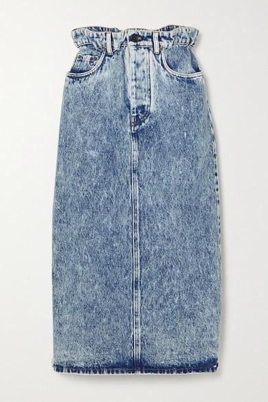 Miu Miu Washed-denim Midi Skirt - Blue