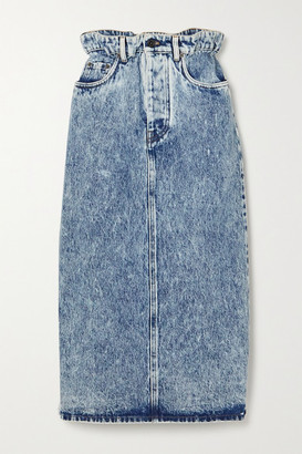 Miu Miu Washed-denim Midi Skirt - Blue