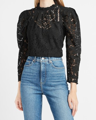 Express Lace Puff Sleeve Top