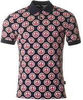 Moschino Slim Fit All Over Peace Logo Polo