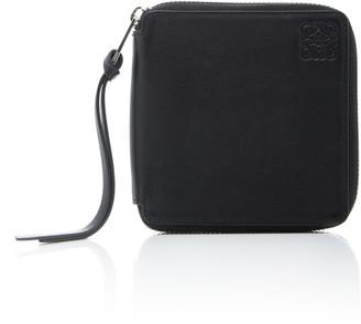 Loewe Square-Zip Metallic Leather Wallet