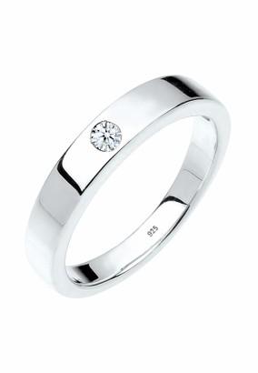 Diamore Women's 925 Sterling Silver 0.02 ct White Diamond Solitaire Ring P (56 cm)