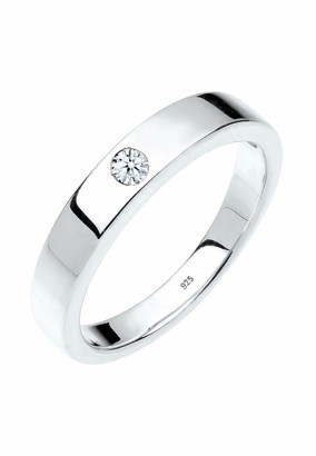 Diamore Women's 925 Sterling Silver 0.02 ct White Diamond Solitaire Ring Q (58 cm)