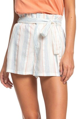 Roxy Morro Bay Yarn Dye Stripe Paperbag Waist Shorts