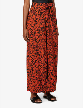 Seafolly Amazonia animal-print wide-leg high-rise woven trousers